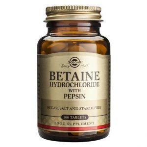 Solgar Betaine Hydrochloride with Pepsin 100 cápsulas