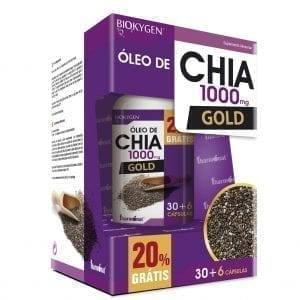 Biokygen Óleo de Chia Gold 1000mg Fharmonat 30 + 6 cápsulas grátis