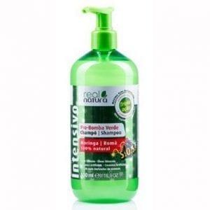 Real Natura Champô Pro-Bomba Verde Moringa e Romã 500ml