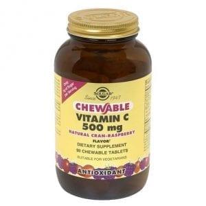 Solgar Vitamin C 500mg Sabor Framboesa 90 comprimidos mastigáveis