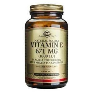 Solgar Vitamin E 671mg (1000 IU) 50-100 cápsulas moles vegetais